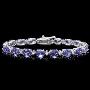 Jewelry - 16.50ct Tanzanite & Diamond 14KW Gold Bracelet